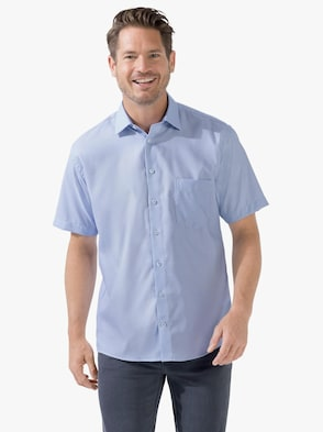 Kurzarm-Hemd - blau-gemustert