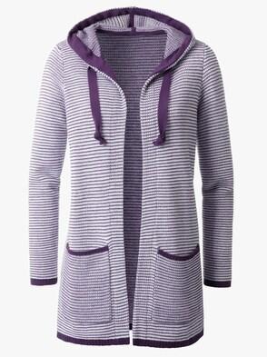 Pletený sveter - slivková priečne pruhovaná