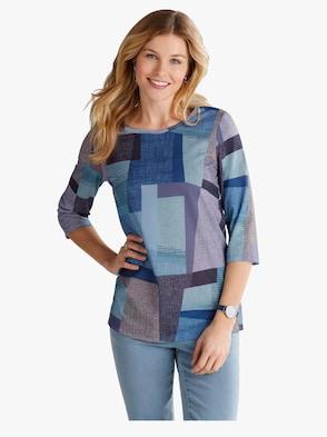 Lang shirt - blauw gedessineerd