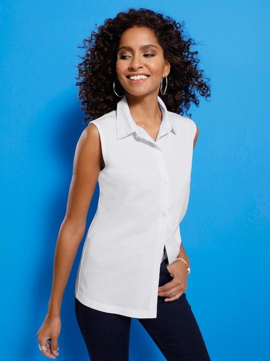 Jersey-Bluse - weiß