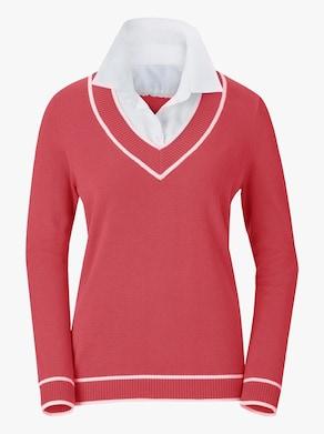Collection L Pullover - koralle-weiß