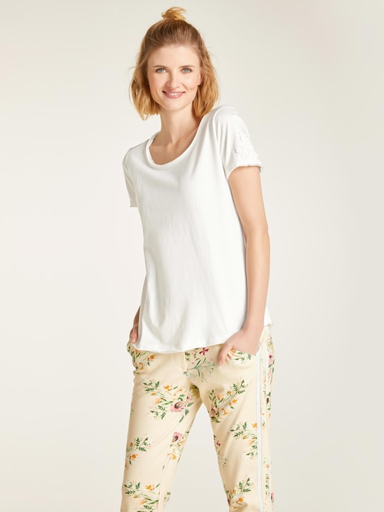 Linea Tesini Rundhals-Shirts - offwhite