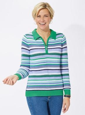 Pullover - groen/blauw gestreept