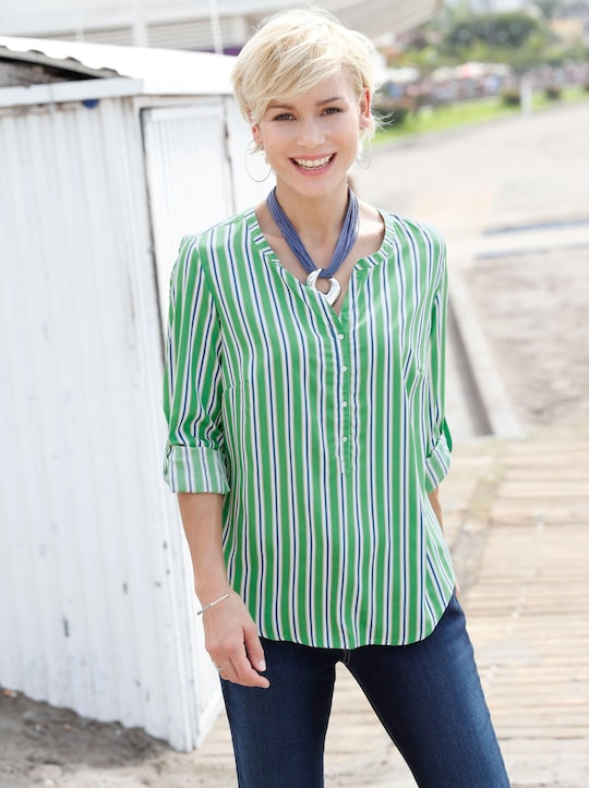 Collection L Blouse - groen/wit gestreept