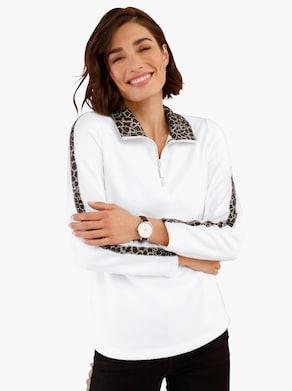 Fleecové tričko - ecru-potisk