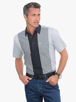 Kurzarm-Shirt - hellgrau-marine