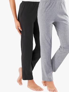Žerzejové kalhoty v balení po 2 kusech - černá + šedá-melír