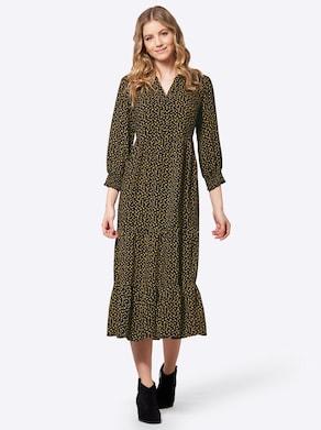 Druck-Kleid - schwarz-ocker-bedruckt