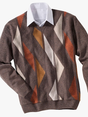 Pullover - braun-gemustert