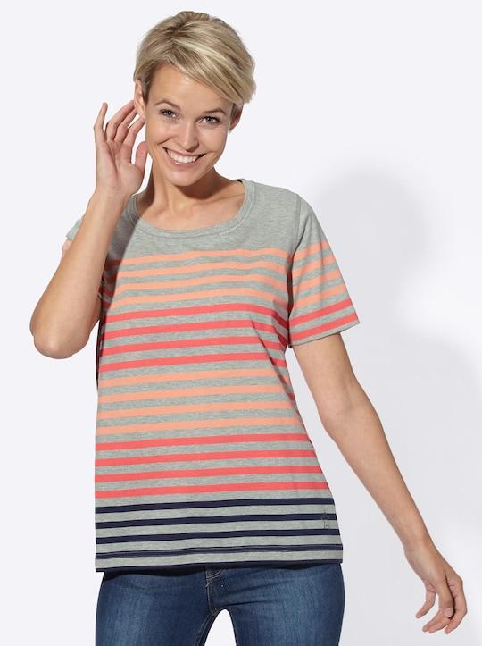 Collection L Shirt - koralle-grau-gestreift