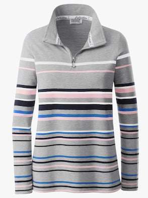 Shirt - grau-rosé-gestreift
