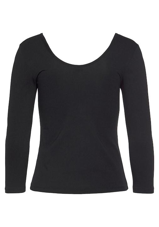 LASCANA Langarmshirt - schwarz