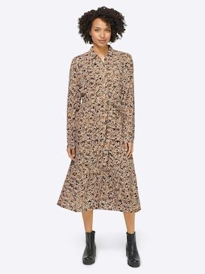 Linea Tesini Druck-Kleid - schwarz-camel-bedruckt