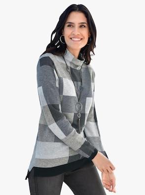 Pullover - grau-schwarz-gemustert
