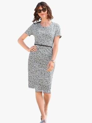 Kleid - grau-weiß-bedruckt
