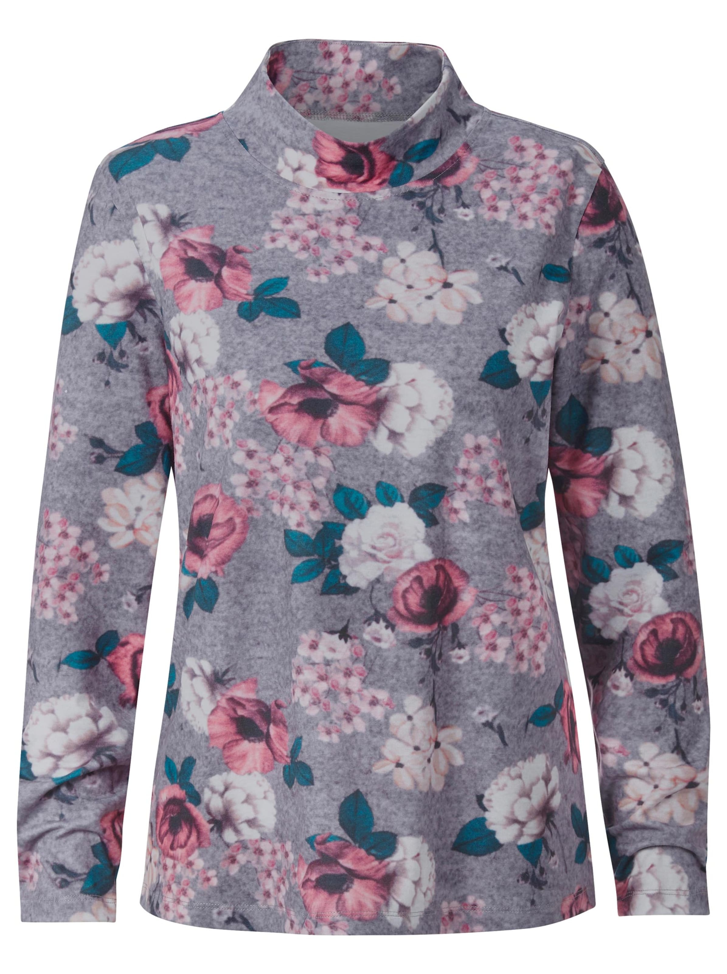 witt weiden -  Damen Winter-Shirt grau-beere-bedruckt