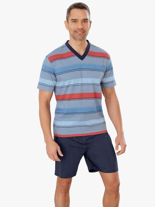 Krátké pyžamo - námořnická modrá-červená-proužek