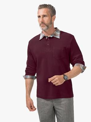 Langarm-Poloshirt - bordeaux