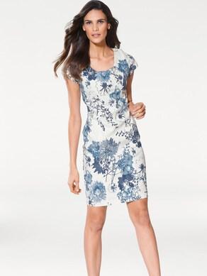 Ashley Brooke Druck-Kleid - weiß-jeansblau