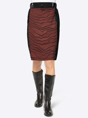Jerseyrok - roodbruin/zwart bedrukt