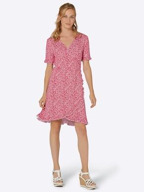 Jersey-Kleid - erdbeere-ecru-bedruckt