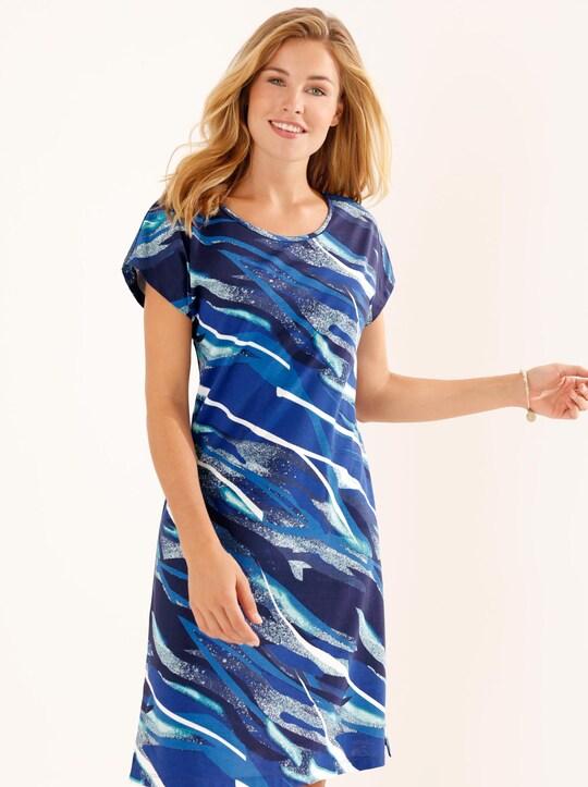Sommerkleid - marine-türkis-bedruckt